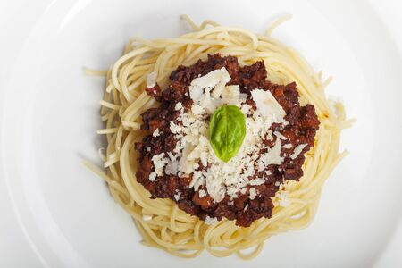 spaghetti with sauce bolognese and basil  Stock Photo - 17086803