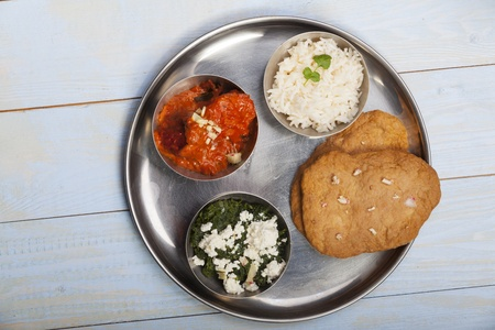mixed indian thali food with rice Stock Photo - 17086818