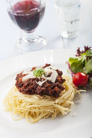 spaghetti with sauce bolognese and basil  Stock Photo - 17318203