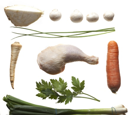 ingredients of a chicken broth Stock Photo - 17318199