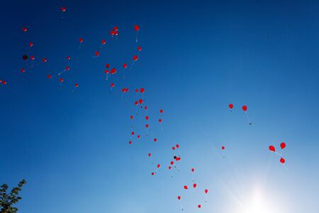 red balloons on a blue sky Stock Photo - 17752422