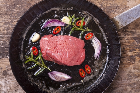 raw steak in an iron pan  photo