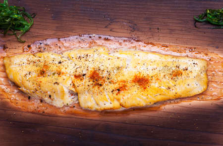 dover sole on a grilling plank  Stock Photo - 17752419