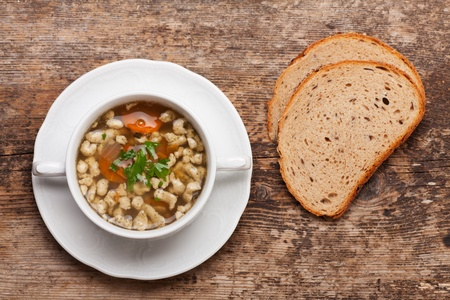 bavarian bratnockerl soup in a cup Stock Photo - 17871689