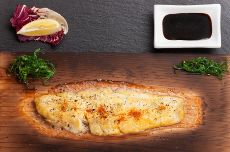 dover sole on a grilling plank Stock Photo - 17871707