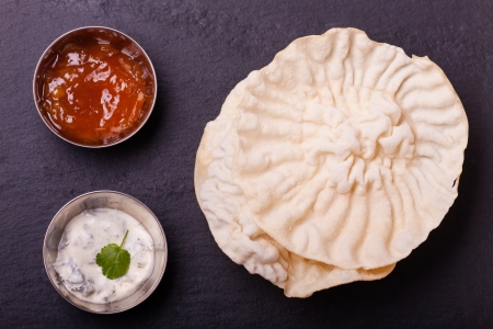 indian chapati bread and sauces Stock Photo - 17871671