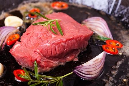 raw steak in an iron pan Stock Photo - 17871720