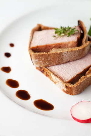 slices of cooked ham in crust with sauce  Stock Photo - 17871712