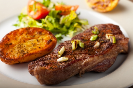 grilled steak with roasted potato  Stock Photo - 17999709
