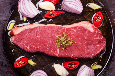 raw steak in an iron pan  Stock Photo - 18033528