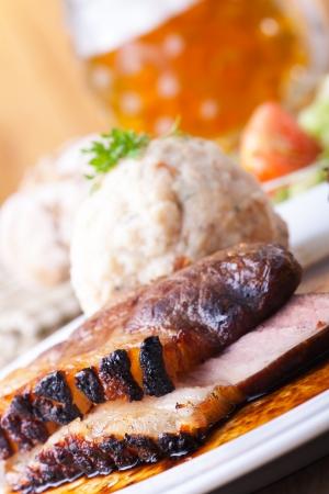 bavarian roast pork dish with dumplings Stock Photo - 18032902