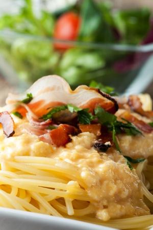 closeup of spaghetti carbonara Stock Photo - 18032891
