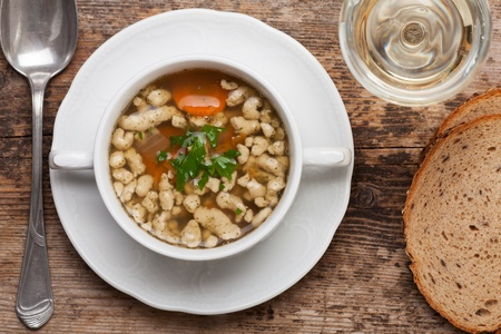 bavarian bratnockerl soup in a cup Stock Photo - 18118462