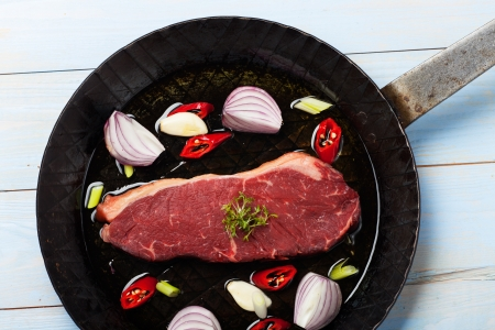 raw steak in an iron pan  Stock Photo - 18118464