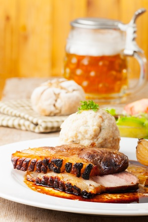 bavarian roast pork dish with dumplings  Stock Photo - 18118461