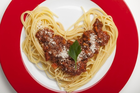 heart shaped spaghetti on a plate  Stock Photo - 18118460
