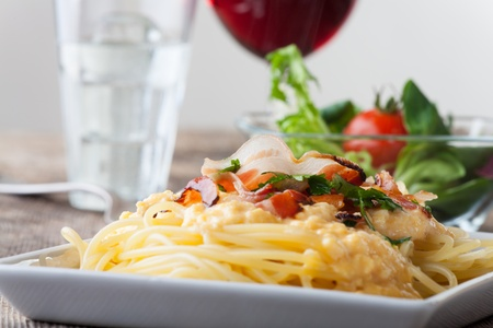closeup of spaghetti carbonara  Stock Photo - 18118465
