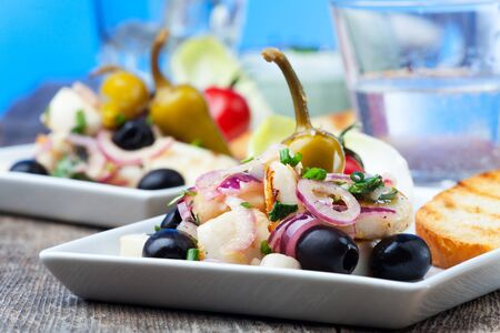 greek salad of grilled octopus