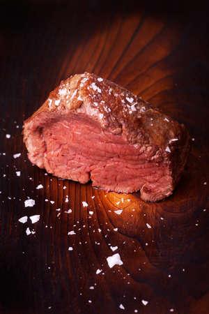 grilled scotch steak on wood Stock Photo - 18937536