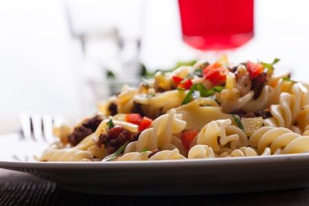 bolognaise: spirelli and sauce bolognaise