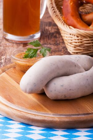 bavarian white sausages with pretzel  Stock Photo - 18937527