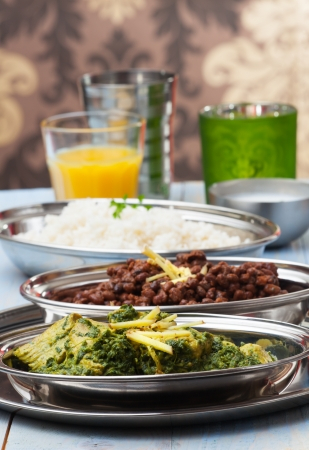 indian murgh palak and dhal with rice  Stock Photo - 18937539