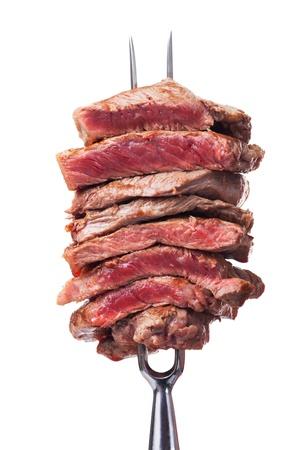 slices of steak on a meat fork