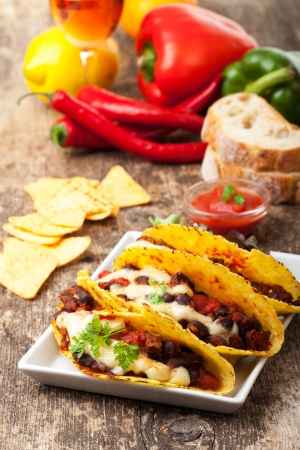 taco with chili con carne on a plate Stock Photo - 18937545