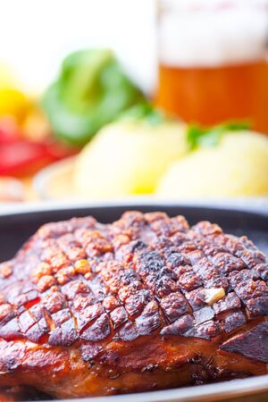 roasted pork dish in a pan Stock Photo - 18937523