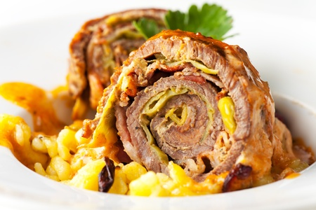 closeup of a stuffed roulade  photo