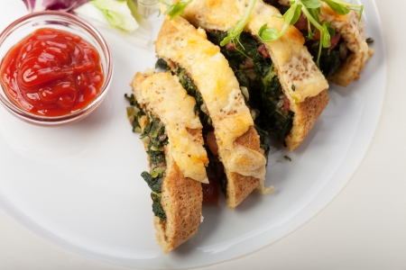 slices of spinach omelette  photo
