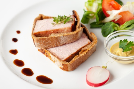 slices of cooked ham in crust with sauce Stock Photo - 19087076