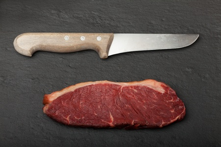 raw steak and cutlery Stock Photo - 19087089