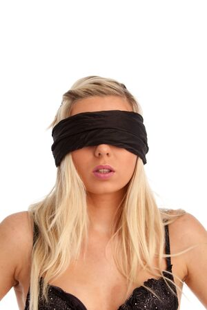 attractive woman blindfolded on white  Stock Photo - 19147019