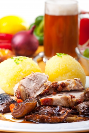 grilled bavarian pork meat with dumplings  Stock Photo - 19154365