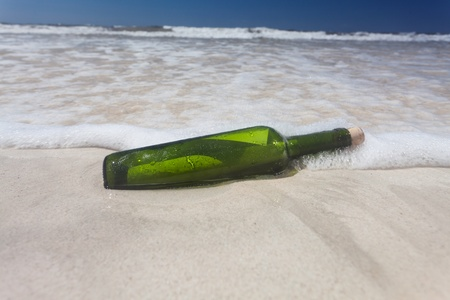 message in a bottle on a beach Stock Photo - 19211312