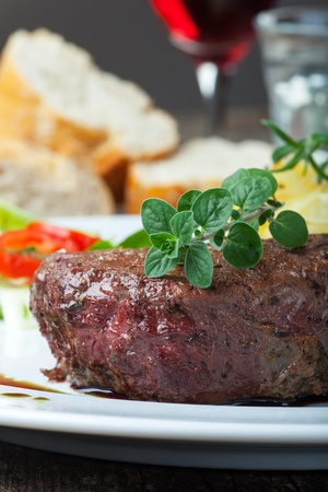 grilled steak with oregano  Stock Photo - 19211321