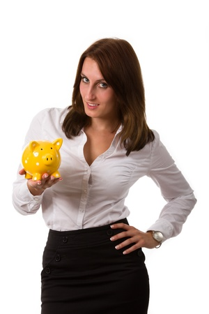 business woman with a piggybank  photo
