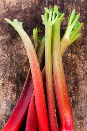raw rhubarb on wood Stock Photo - 19385114