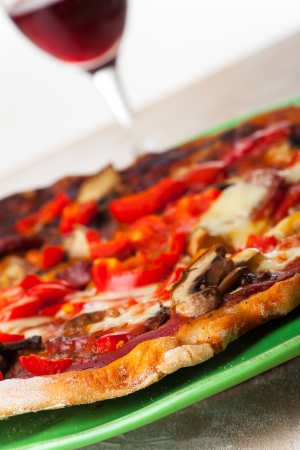pizza and a glass of wine  Stock Photo - 19385157