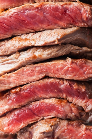 slices of steak on a meat fork  Stock Photo - 19385168