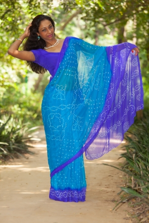 beautiful indian woman in a saree  photo