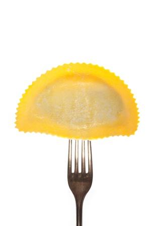 raviolo: tortelloni pasta on a fork