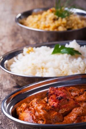 indian chicken tikka masala with rice  photo