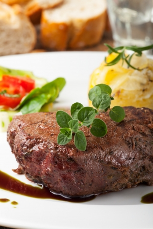 grilled steak with oregano  photo