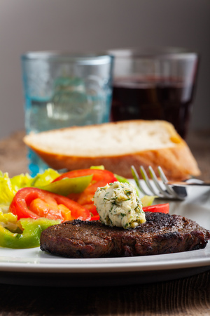steak with herb butter  photo