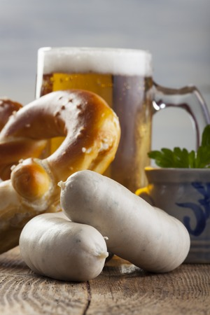 bavarian white sausages with bretzel and beer Stock Photo - 23146460