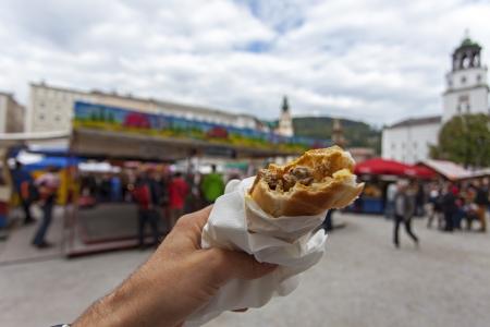 bosna: bosna hotdog in Salzburg  Stock Photo