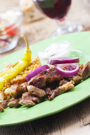 tzaziki: greek gyros on a plate  Stock Photo