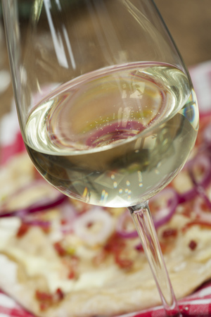 white wine and french flammkuechen  Stock Photo